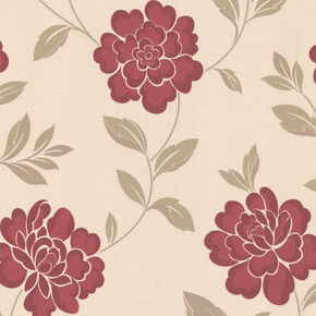 Iris Red and Cream Wallpaper, , large