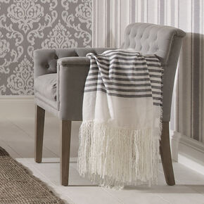 Coastal Stripes Fringed Throw, , large