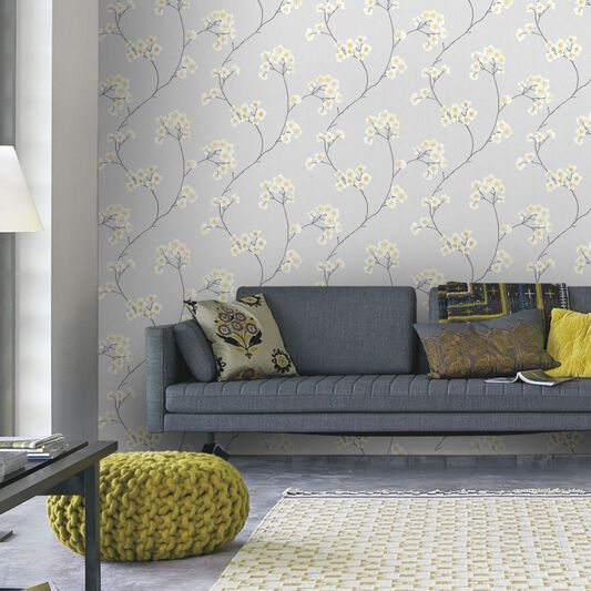 Radiance grey and ochre wallpaper graham brown for Grey wallpaper living room ideas