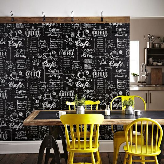 Coffee Shop Black and White Wallpaper, , large