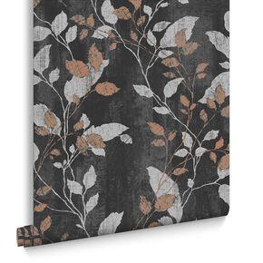 Vermeil Leaf Charcoal & Copper Wallpaper, , large