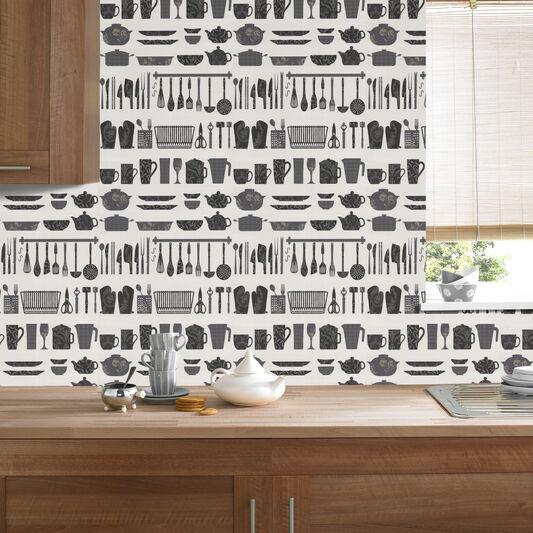 Black White Kitchen Wallpaper: Making A Crockery Black And White Wallpaper