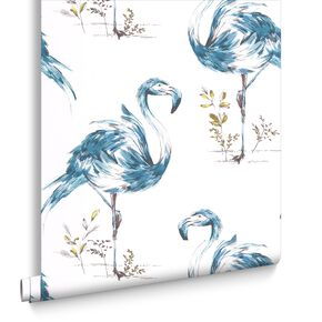 Flamingo Teal Wallpaper, , large