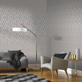 Large Archetype Grey Rose Gold Wallpaper