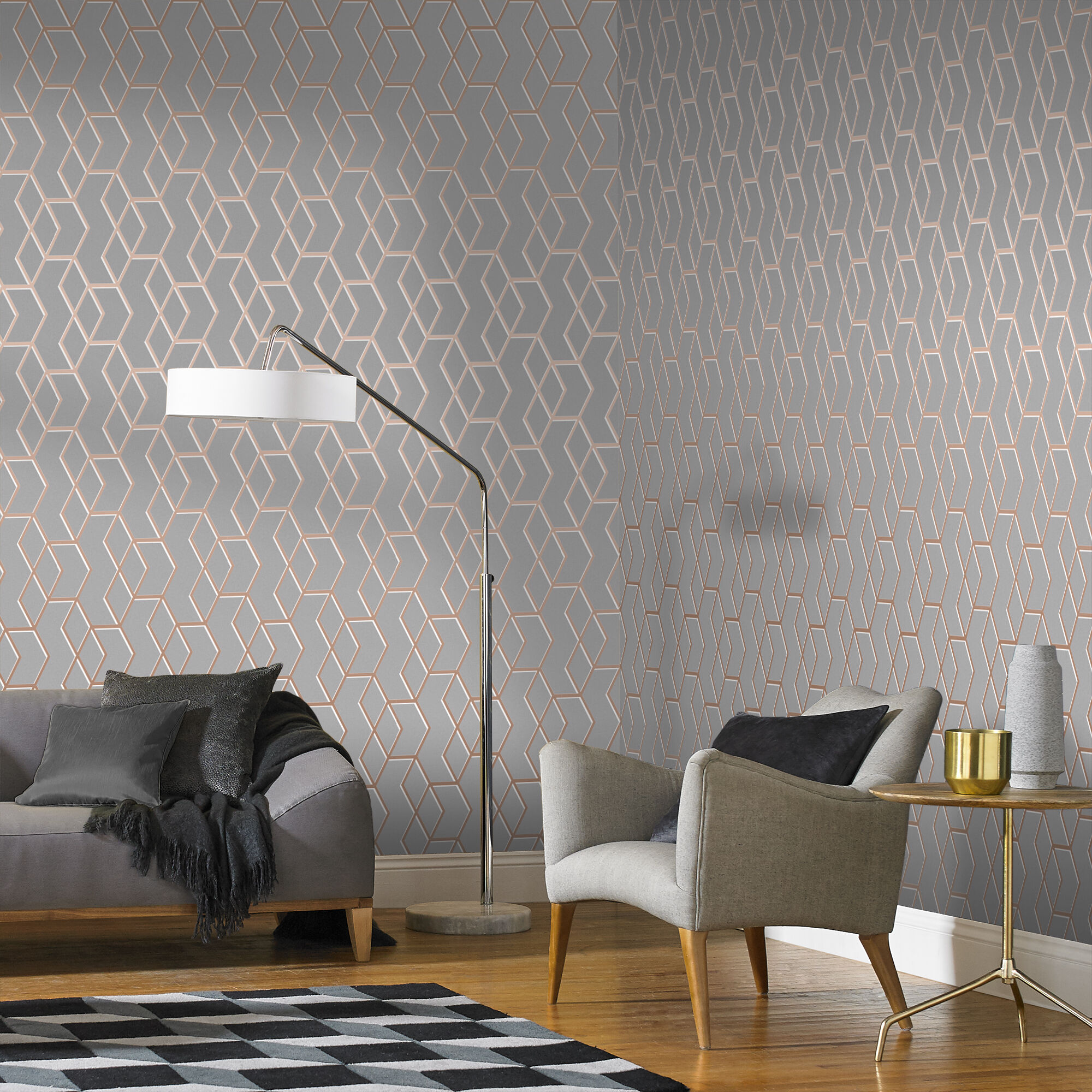 ... Large Archetype Grey U0026 Rose Gold Wallpaper, ...