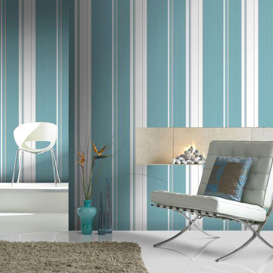Gradient Stripe Teal Wallpaper Grahambrownrow