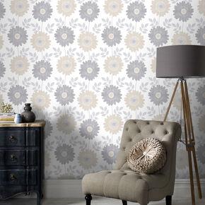 Stria Floral Cream Wallpaper, , large