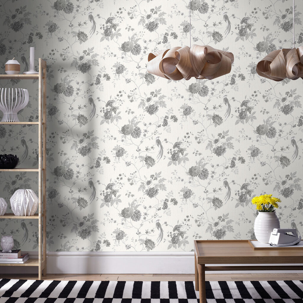 Exotica White And Silver Wallpaper GrahamBrownUK