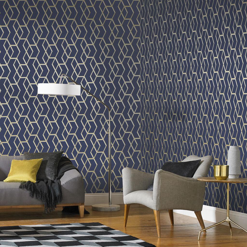 Archetype navy gold wallpaper grahambrownuk - Navy gold wallpaper ...