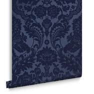 Gothic Damask Flock Cobalt Wallpaper, , large