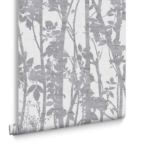 Fabric Branches Silver Wallpaper, , large