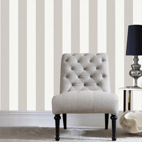 Calico Stripe  Natural Wallpaper, , large