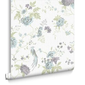 Exotica Duck Egg and Lilac Wallpaper, , large