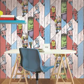 Marvel Wood Panel Wallpaper, , large