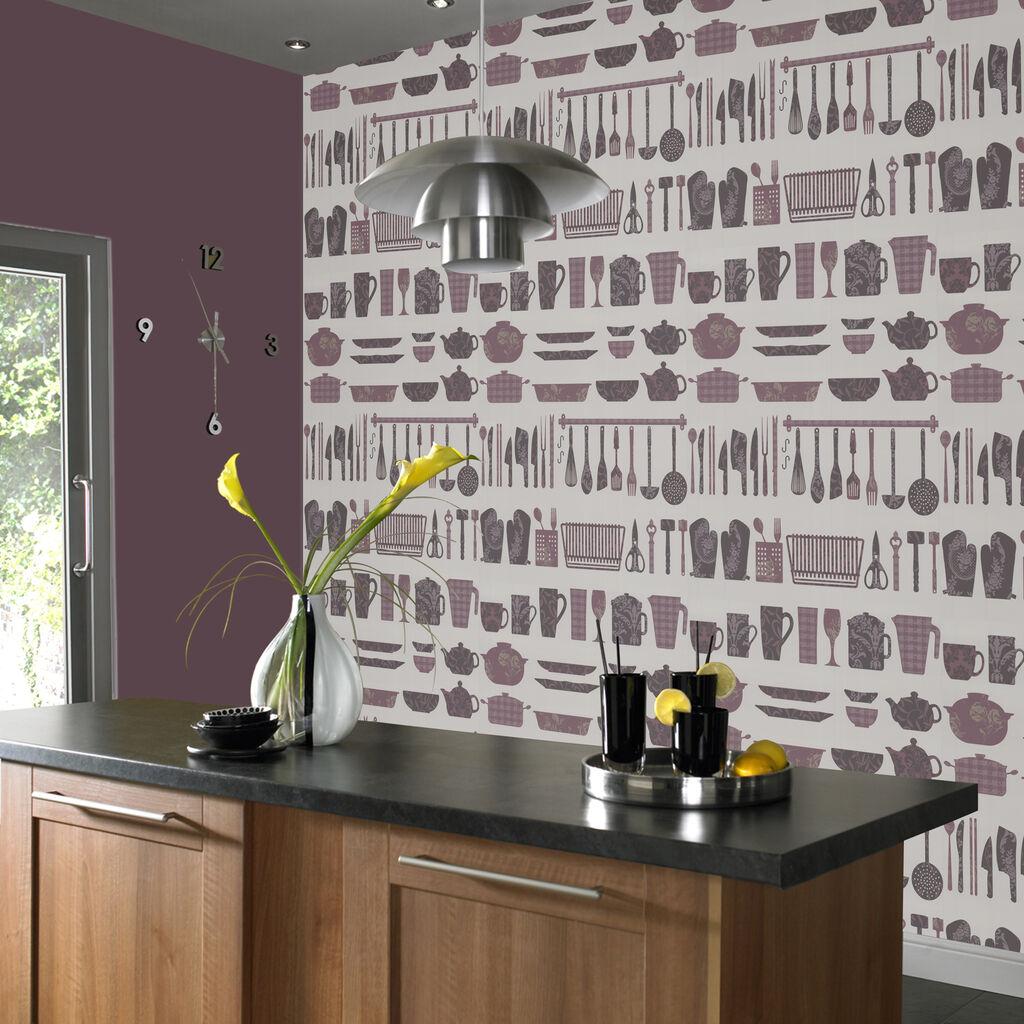 Making A Crockery Plum And Cream Wallpaper