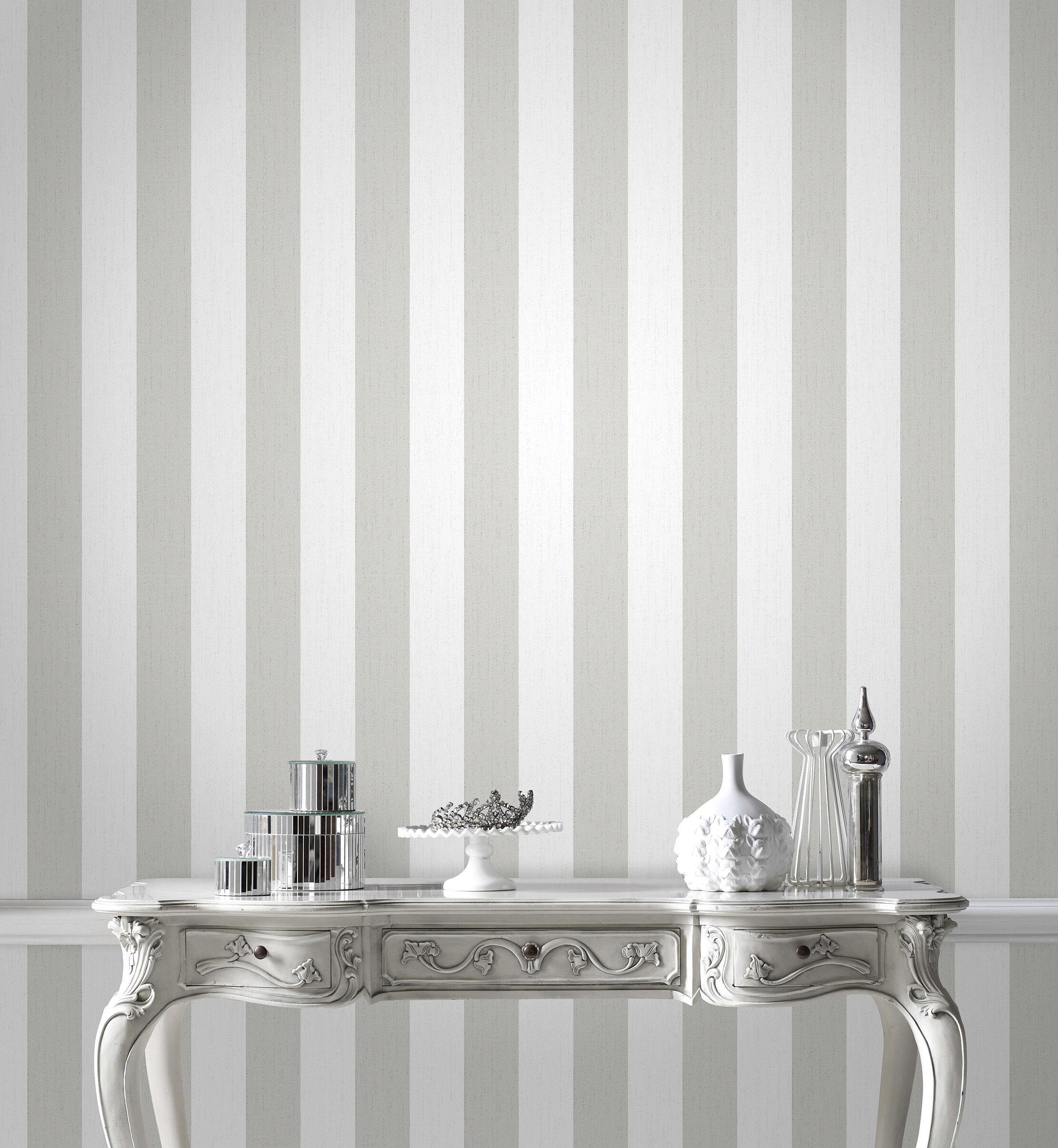 Elegant ... Large Glitterati White And Silver Wallpaper, ...