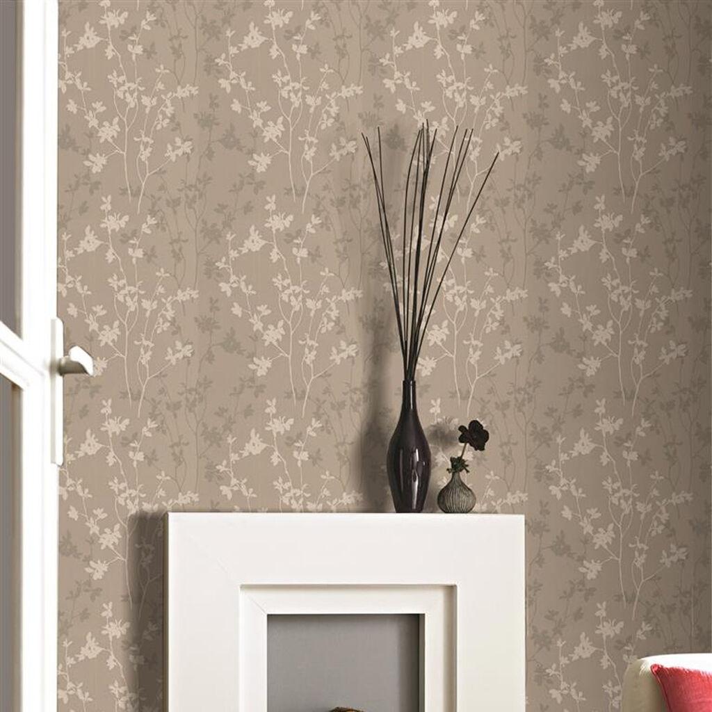 Nature taupe wallpaper grahambrownuk for Beige living room wallpaper