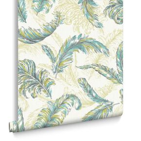 Gilded Feather Green and Teal Wallpaper, , large