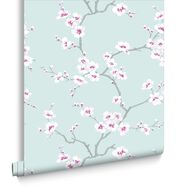 Apple Blossom Tree Teal, , large