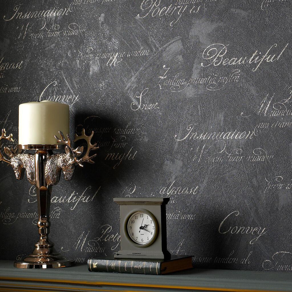 concrete script charcoal wallpaper graham brown. Black Bedroom Furniture Sets. Home Design Ideas