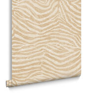 Zebra White and Gold Wallpaper, , large
