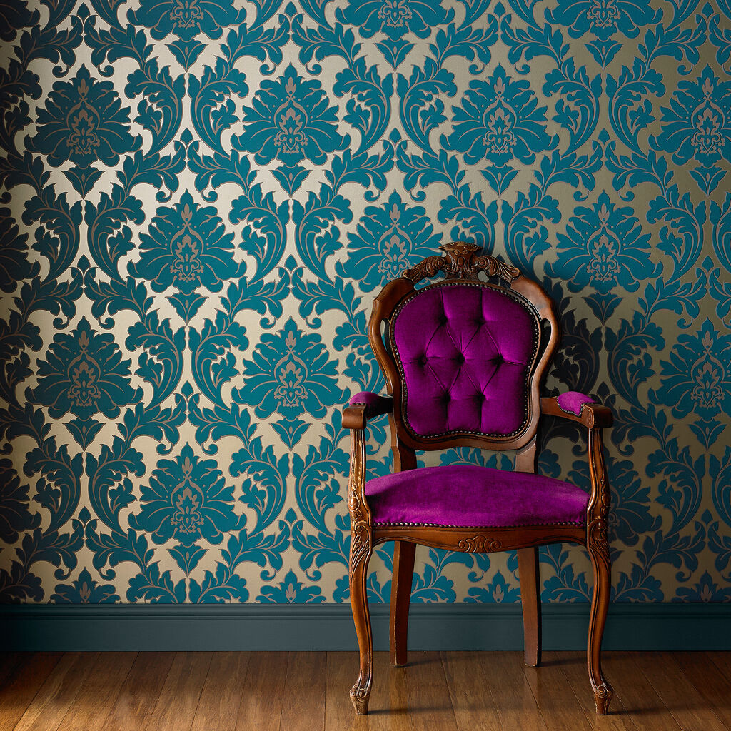 Majestic teal wallpaper damask wallpaper graham brown for Decorators best wallpaper