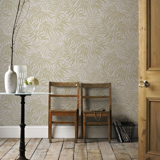 Tropic Beige and Gold Wallpaper, , large