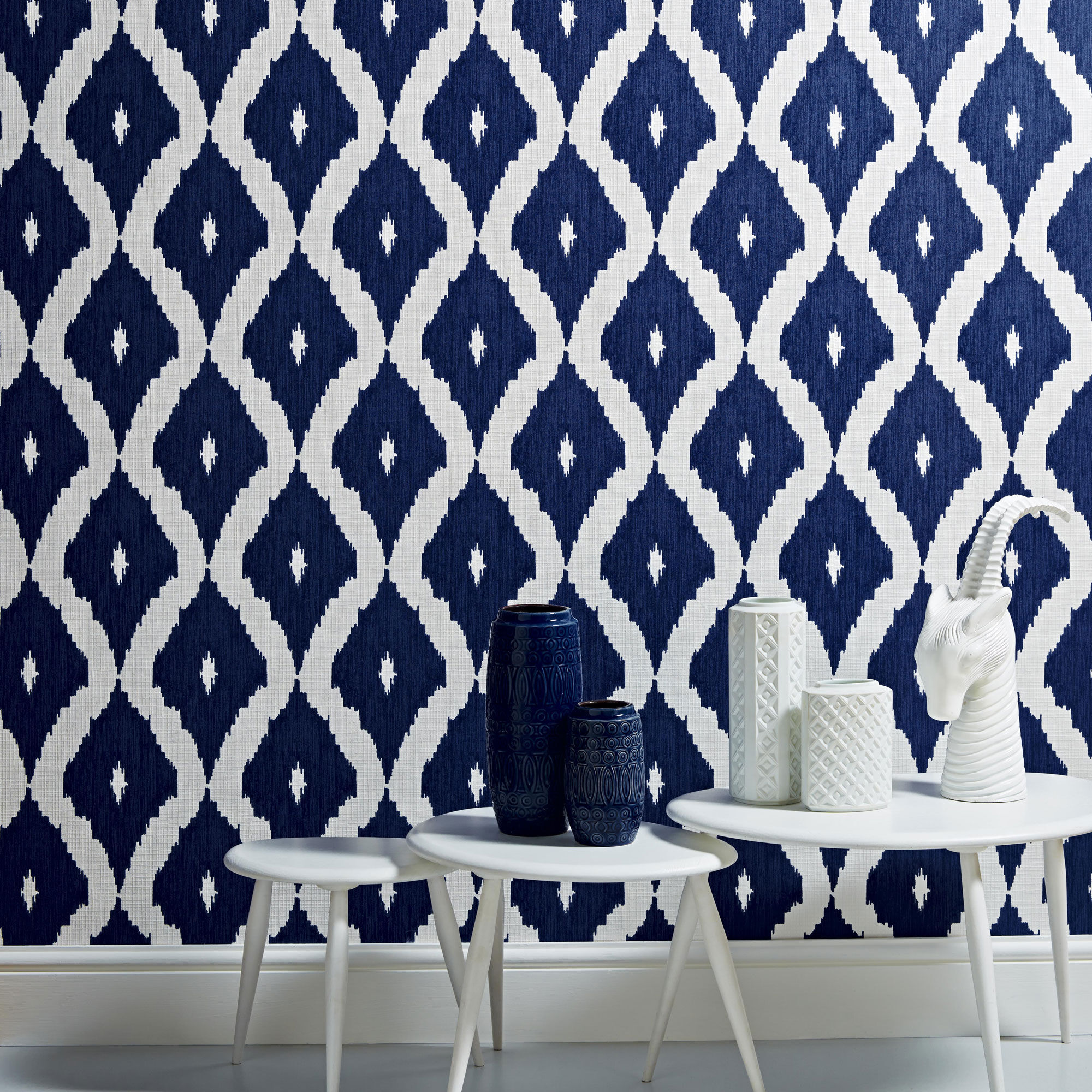 ... large Kellyu0027s Ikat White and Prussian Blue Wallpaper, ...