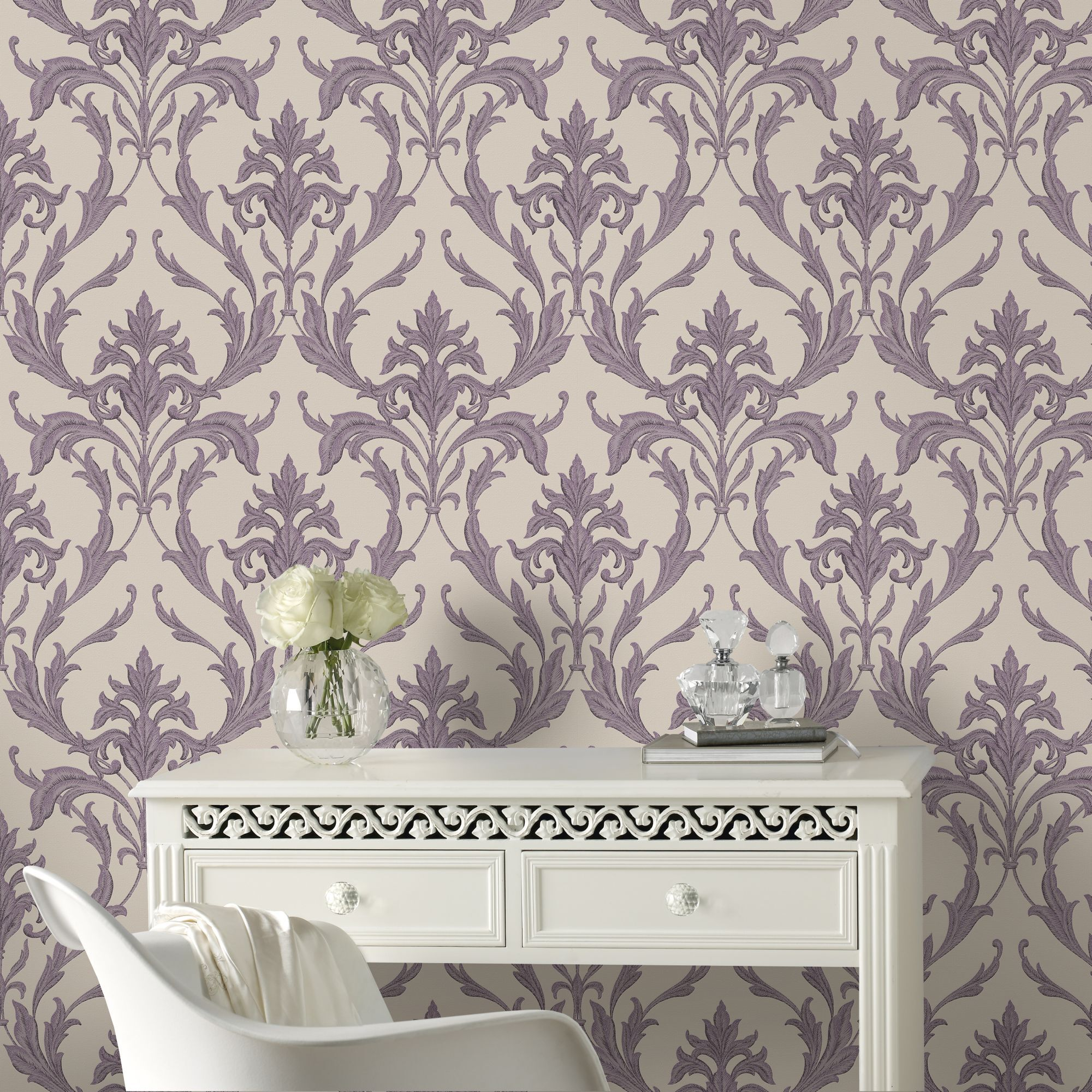 ... Large Oxford Cream And Purple Wallpaper, ...