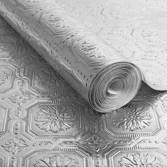 Metallic tile wallpaper grahambrownuk for Foil wallpaper uk