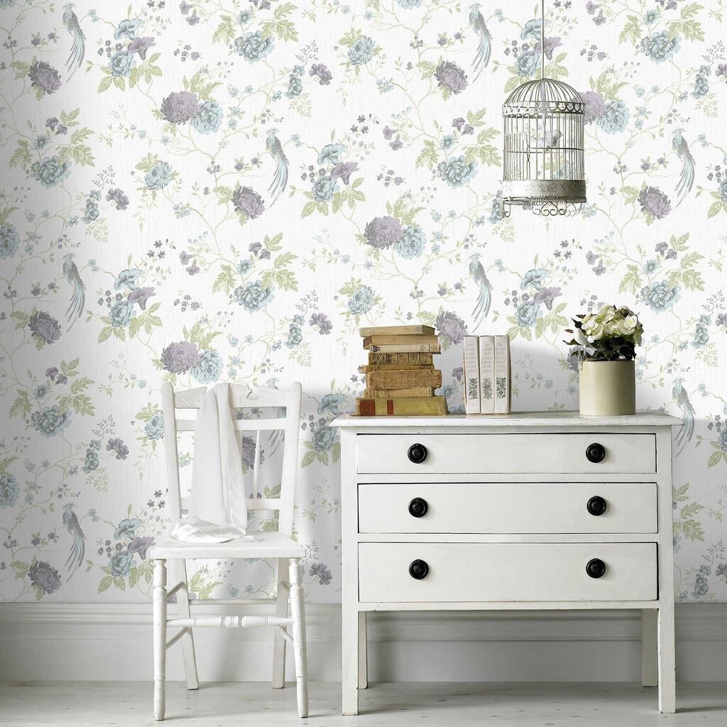 exotica duck egg and lilac wallpaper grahambrownuk