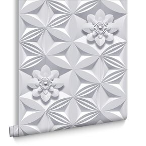 Wall Flower Grey Wallpaper, , large