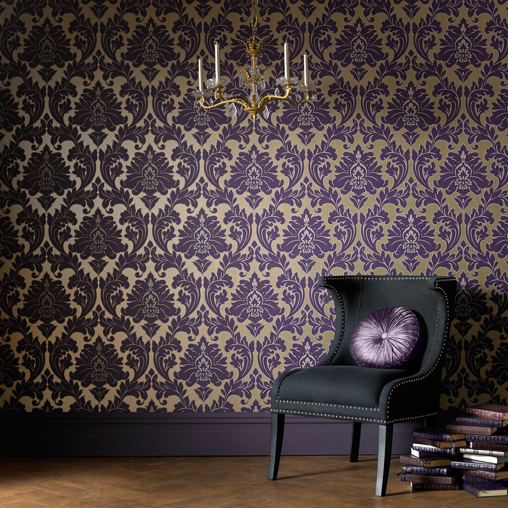 Majestic purple graham brown for Purple wallpaper for home