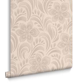 Jacquard Floral Biscuit Wallpaper, , large