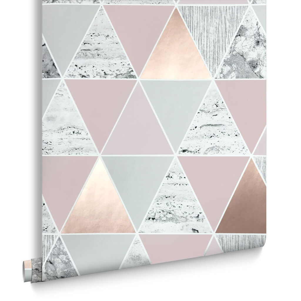 Buy marble rose gold silver and floral geo triangles rectangular - Rose Gold Reflections Wallpaper