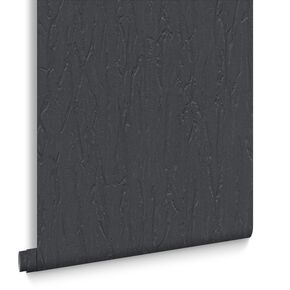Crushed Silk Black Wallpaper, , large