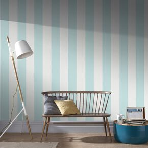 Calico Stripe Duck Egg Wallpaper, , large