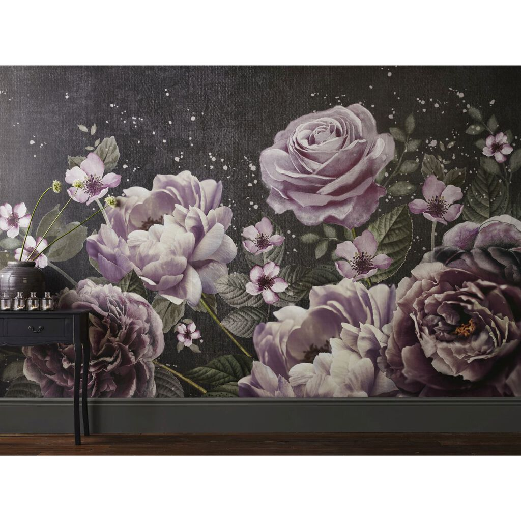 Purple bloom wall mural grahambrownuk - Flower wallpaper mural ...