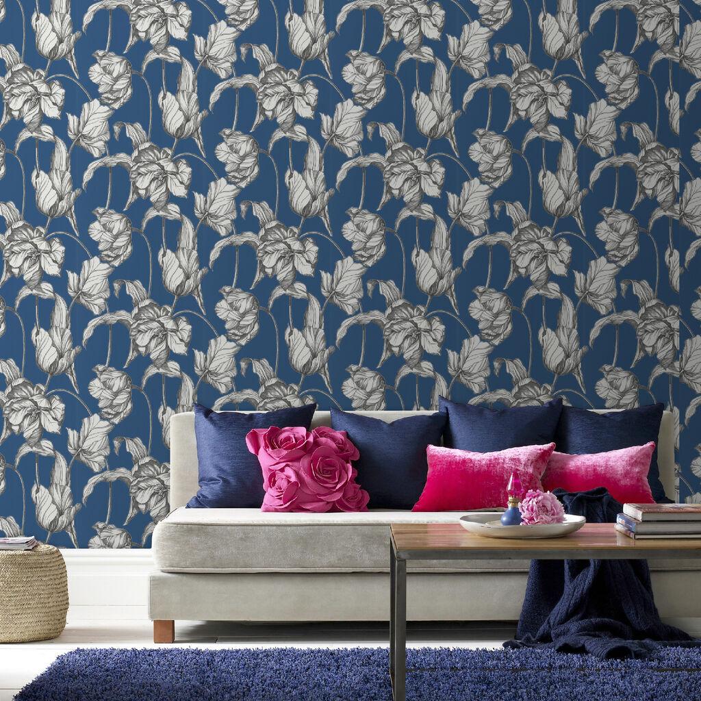 Harem Tulips Blue Wallpaper Graham Brown