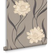 Poppy Taupe and Charcoal Wallpaper, , large