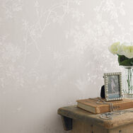 Spring Blossom White Shimmer Wallpaper, , large