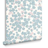 Woodstock Teal Wallpaper, , large