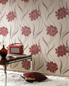 Poppy Red and Beige Wallpaper, , large