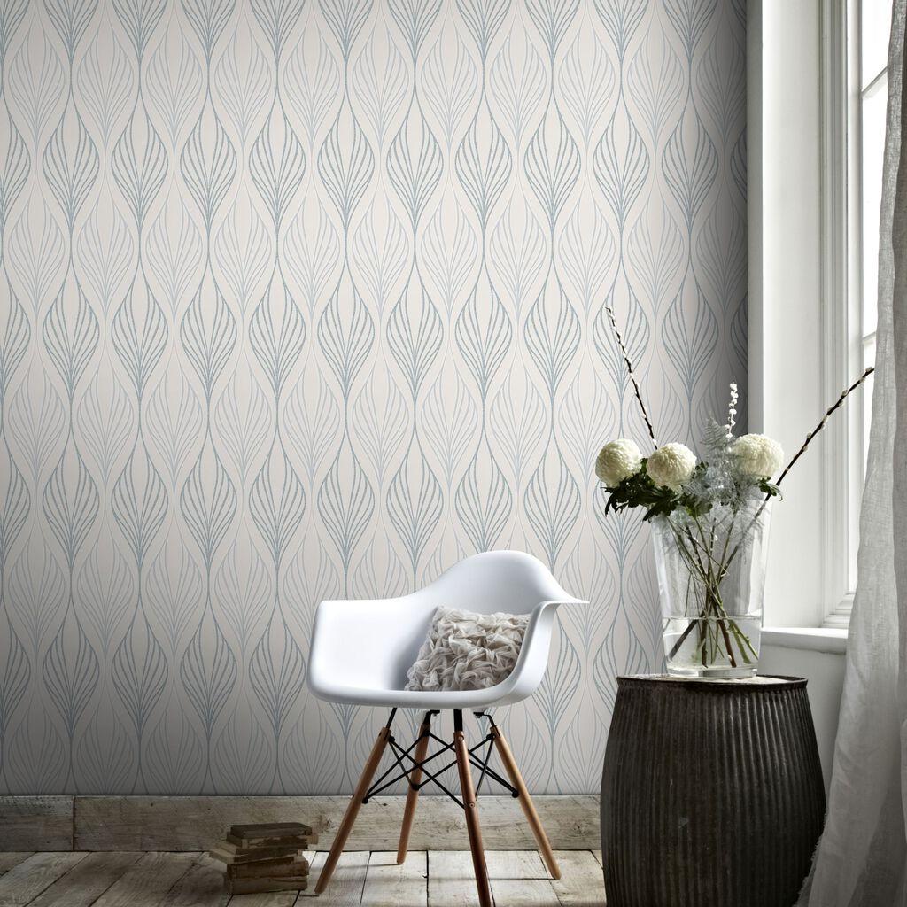 Optimum White And Duck Egg Wallpaper Graham Amp Brown
