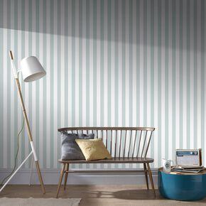Helen Glitter Stripe Duck Egg & White Wallpaper, , large