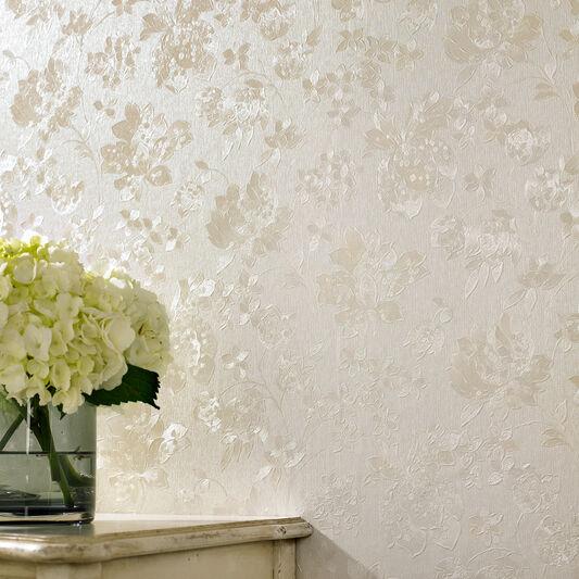 Floral cream shimmer wallpaper contemporary floral wallpaper for Cream wallpaper for walls