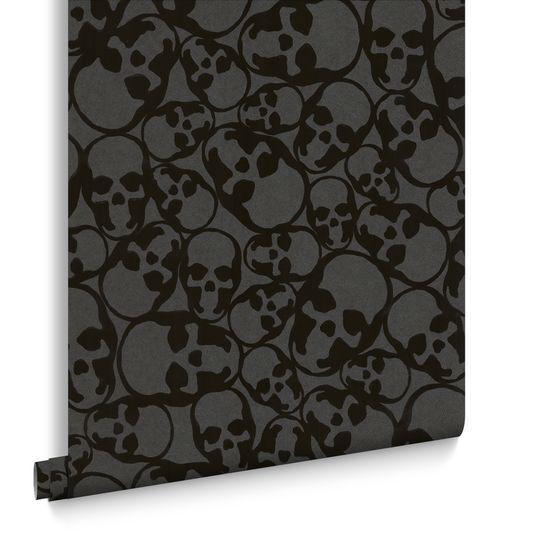 Moderne tapete schwarz  Skulls Tapete Schwarz | Moderne Totenschädel Tapete | Graham & Brown