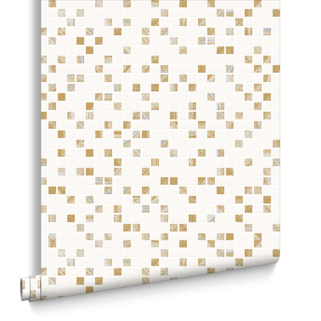 Aurora Tile White and Gold Wallpaper. Bathroom Wallpaper   Wallpaper by Graham   Brown
