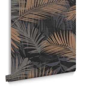Jungle Glam Black & Gold Wallpaper, , large