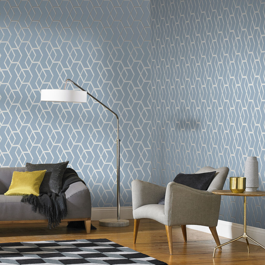 wallpaper for living room wall archetype blue amp silver wallpaper grahambrownuk 19585